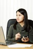 繁忙的女实业家 免版税图库摄影