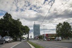 繁忙的明亮的天在贝尔格莱德,塞尔维亚 库存照片