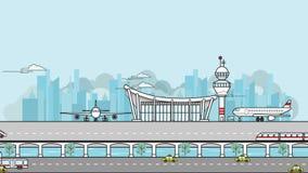 繁忙的机场简单的英尺长度有飞机的离开,登陆,并且停放在机场附近包括运输 库存例证
