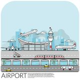 繁忙的机场终端的简单的传染媒介例证有飞机的离开,登陆,并且停放包括运输 向量例证