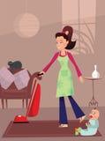 繁忙的母亲在家 免版税库存照片
