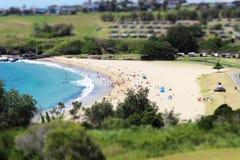繁忙的海滩在一个夏日 库存照片