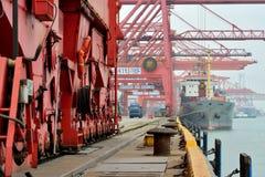繁忙的码头在厦门,福建,中国 库存照片