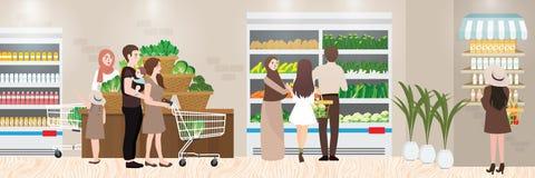 繁忙的超级市场的买菜地方内部例证 免版税库存图片
