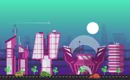 繁忙的都市都市风景模板 皇族释放例证