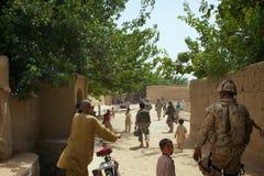 繁忙的阿富汗村庄正方形 免版税图库摄影