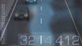 繁忙的高速公路时间间隔有监视器的 库存例证