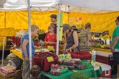繁忙的Grandin村庄农夫市场 库存照片