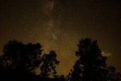 繁星之夜在蓝岭山脉 库存图片