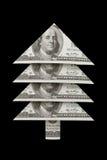 繁荣和福利 圣诞节毛皮树美元 免版税库存照片