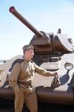 红军战斗机以二战的形式时期的在坦克的 免版税库存照片