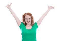 红发女孩神智不清充满在白色-隔绝的喜悦 免版税库存图片