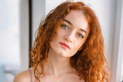 红发年轻女人的大画象有雀斑的 库存照片