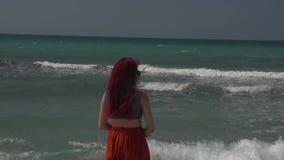 红发年轻女人的背面图太阳镜的在海海浪小条站立  股票录像