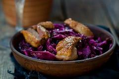 红叶卷心菜和鸭胸脯辣沙拉 免版税库存照片