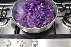 红叶卷心菜裁减成小条和安置在罐是煮熟的a 库存图片