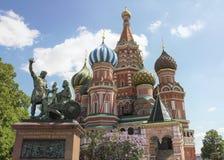 红场的多数著名俄国大教堂 图库摄影