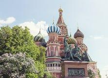 红场的多数著名俄国大教堂 库存照片