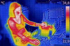 红外热熔印刷图象 库存照片