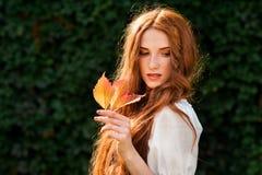 红头发人女孩与狂放的葡萄叶子的秋天画象 免版税库存图片