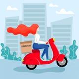 红头发人女孩传讯者乘坐脚踏车 向量例证