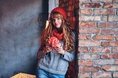 红头发人女性拿着圣诞节礼物 库存图片