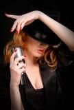 红头发人歌唱家 库存照片