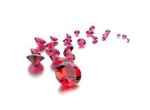 红宝石宝石 背景黑色织品金珠宝银 库存照片