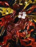 红宝石真珠色的项链和圆环 库存图片