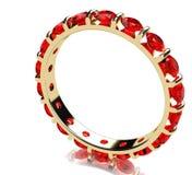 红宝石金戒指 库存照片