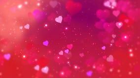 红心出现在光亮的背景 情人节假日摘要圈动画 库存例证