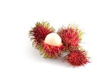 红毛丹是果子南部的亚洲味道甜点 查出在白色 免版税库存图片