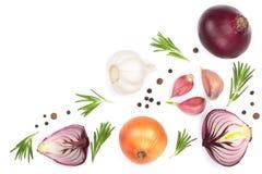 红洋葱、在白色背景隔绝的大蒜用迷迭香和干胡椒与拷贝空间您的文本的 顶视图 图库摄影