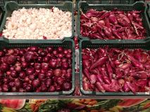 红洋葱和大蒜 库存图片