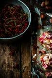 红浆果和榛子酒吧 土气的样式 库存照片