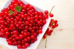 红浆果在白色板材 库存图片