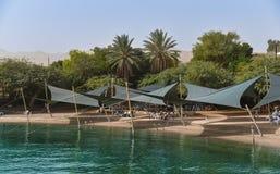 红海海滩在埃拉特,以色列 图库摄影