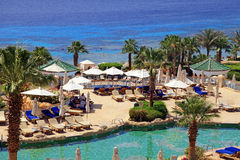 红海海滩的, Sharm El谢赫热带豪华旅游胜地旅馆, 免版税库存图片