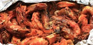 红润红色虾油煎了烤海鲜开胃菜 免版税库存图片