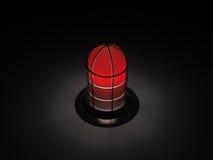 红灯在黑暗的预警闪亮指示 库存图片
