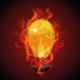红灯电灯泡抽象设计在火的文本的 免版税库存照片
