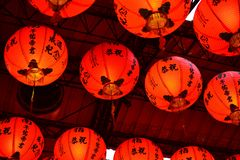 红灯记在台湾和中国,寺庙装饰 图库摄影