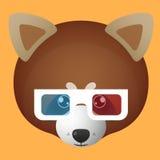 红熊猫具体化佩带的玻璃 图库摄影
