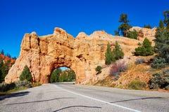 红砂岩自然桥梁在布莱斯峡谷国家公园在犹他,美国 库存图片