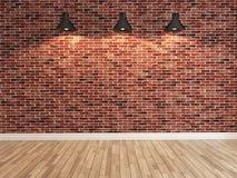 红砖在三个斑点轻的翻译下的墙壁装饰 库存图片