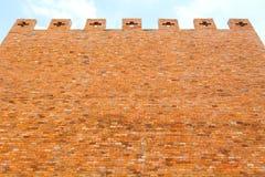 红砖在蓝天的墙壁纹理 库存图片