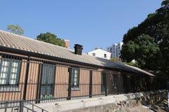 红砖在香港建立了结构 免版税库存照片