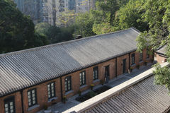 红砖在香港建立了结构 免版税库存图片