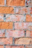 红砖墙壁纹理宏观特写镜头,老详细的概略的难看的东西崩裂了织地不很细砖拷贝空间背景,被风化的脏 库存图片