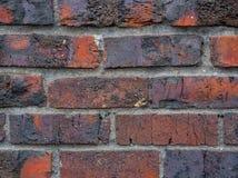 红砖墙壁背景特写镜头  免版税库存照片